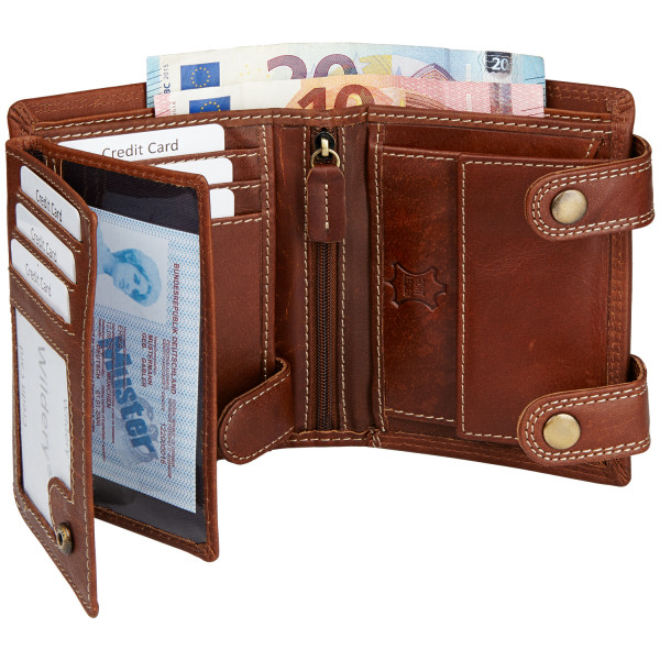 wildery leder geldbörse mit kette und rfid schutz