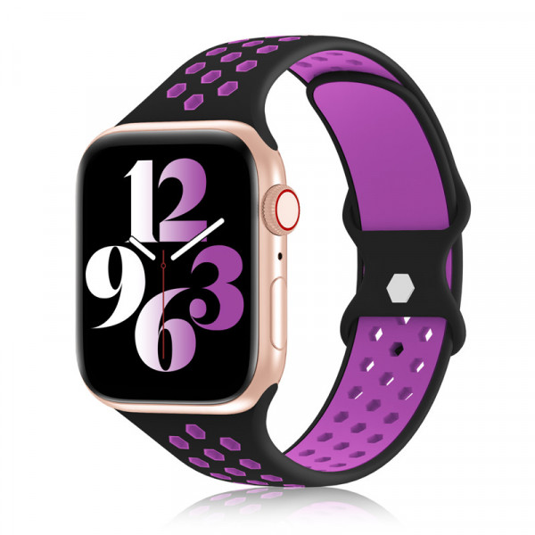 apple watch loop silikon armband in schwarz/pink