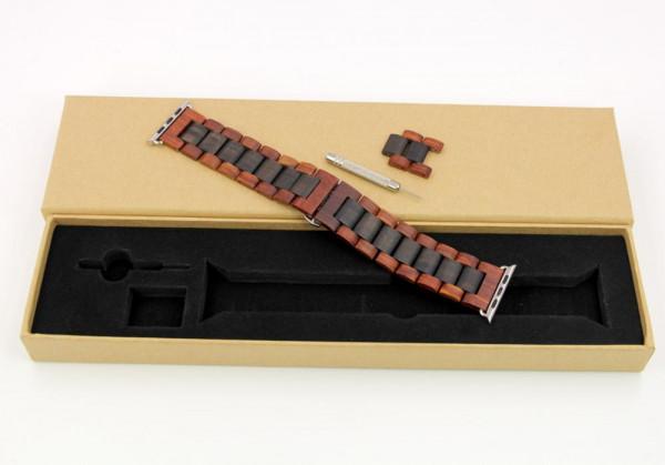 Lieferumfang rot braunes holzarmband für die apple watch mit Werkzeug
