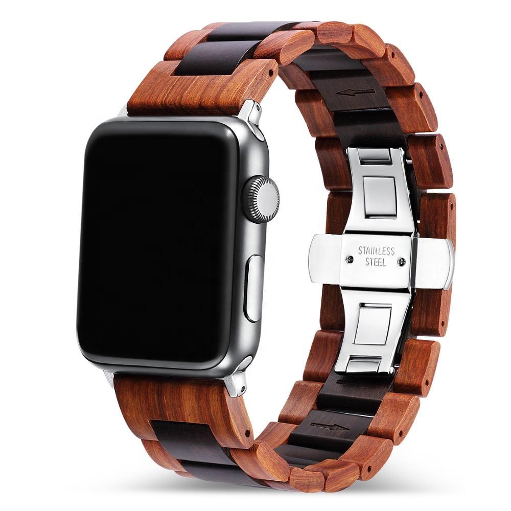 Holz Armband für die Apple Watch mit Glieder in rot braun
