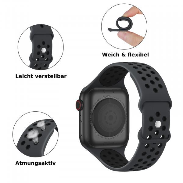 apple watch loop silikonarmband in schwarz