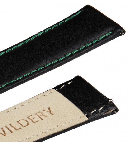 Echt Lederarmband für Samsung Galaxy Watch Classic Frontier mit Quick Release Funktion in schwarz und grüner Naht