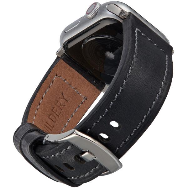Echt Lederarmband für die Apple Watch in schwarz mit dunkler Naht