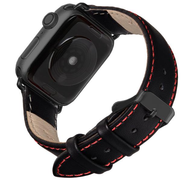 Echt Lederarmband für die Apple Watch in schwarz mit roter Naht