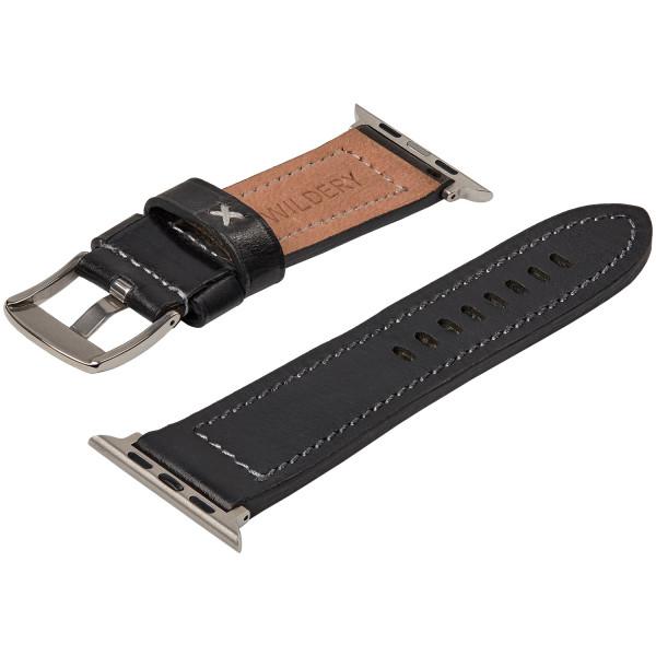 Echt Lederarmband mit schwarzer Naht für die Apple Watch series 1 bis 6 in schwarz