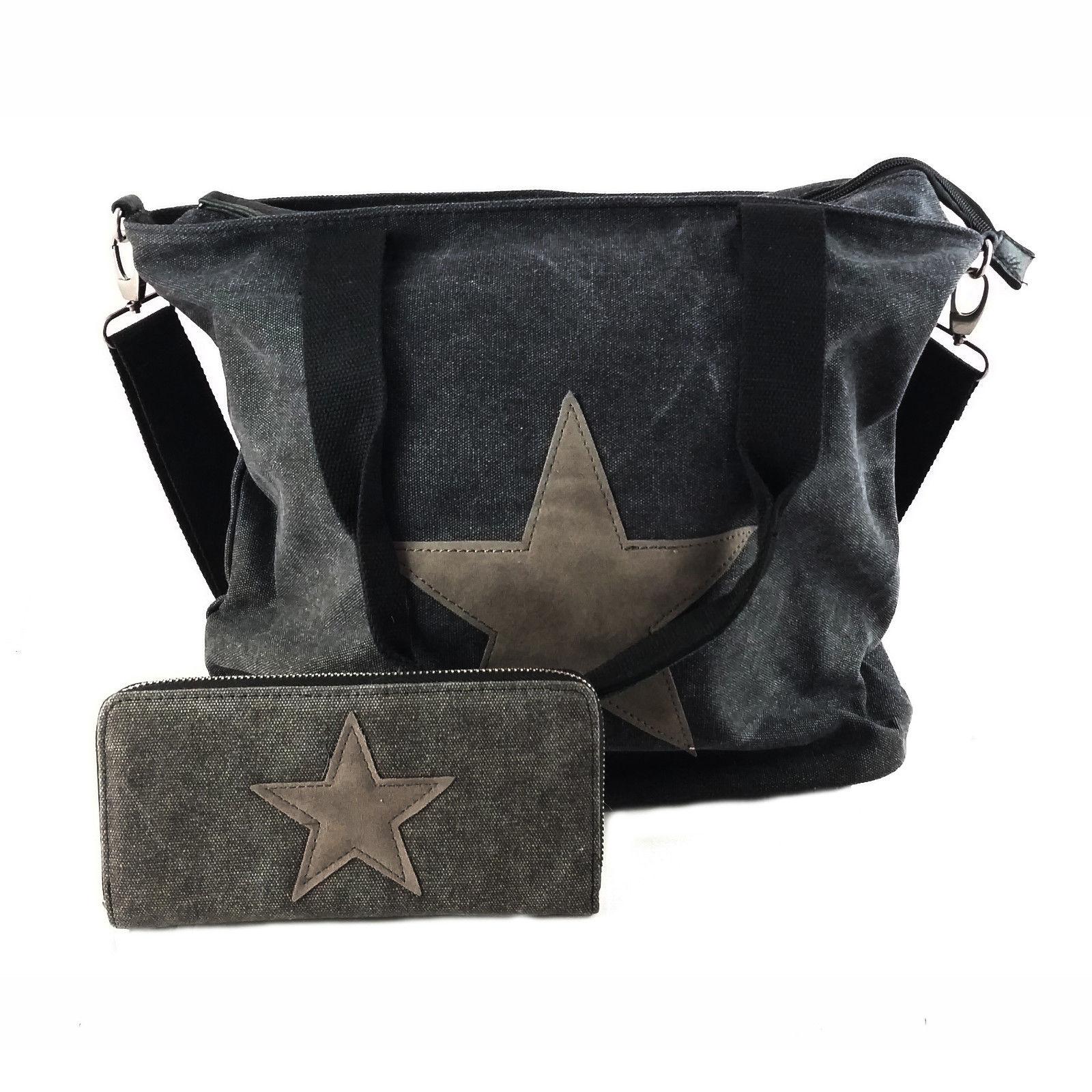 3604dd4c1c554 Stern Damen Tasche Stoff Canvas Schultertasche Bag Shopper Portemonnaie Neu  ...