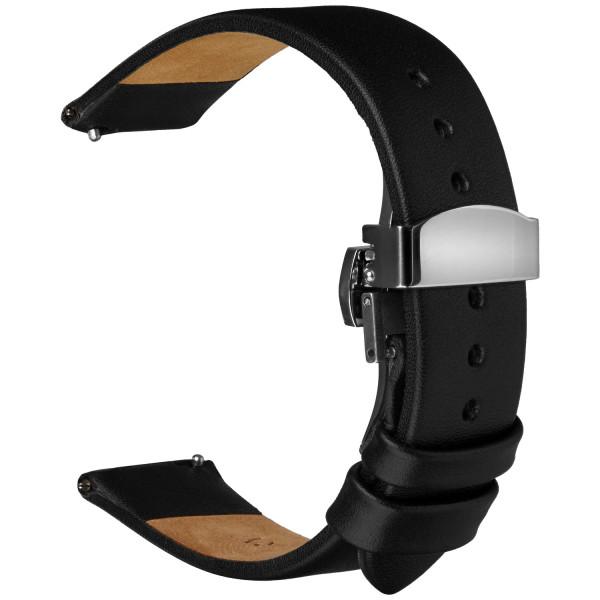 Echt Lederarmband für Samsung Galaxy Watch Classic Frontier mit Quick Release Steh und Faltschließe in schwarz
