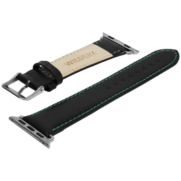 Echt Lederarmband mit grüner Naht für die Apple Watch series 1 bis 6 in schwarz