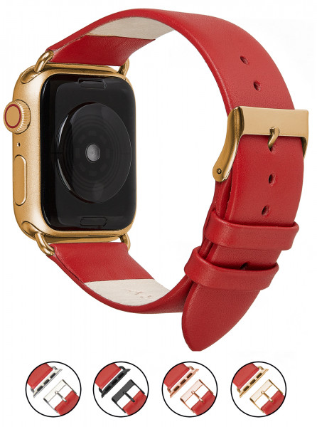 Echt Lederarmband für die Apple Watch in rot
