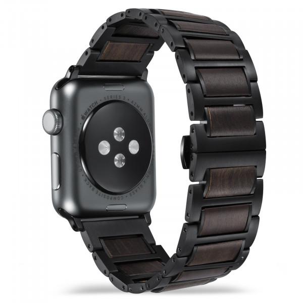 Dunkelbraun schwarzes holzarmband für die apple watch