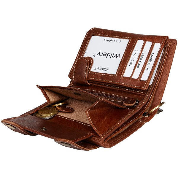 wildery voll-leder geldbörse mit kette und rfid schutz