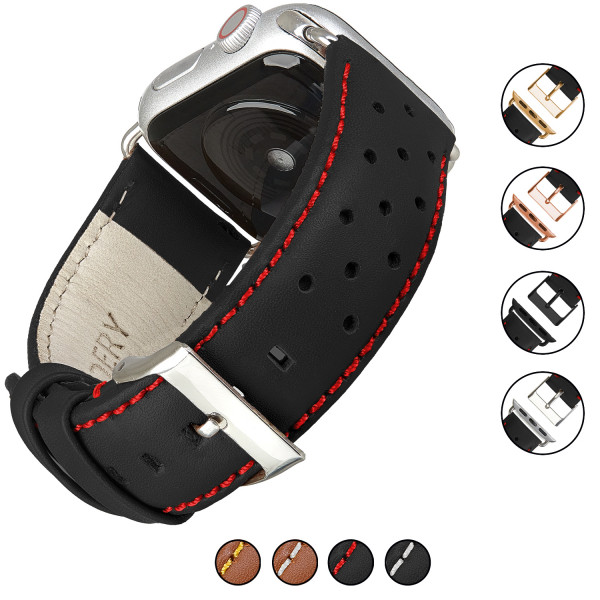 wildery schwarzes lederarmband mit roter naht für die apple watch mit dornschließe
