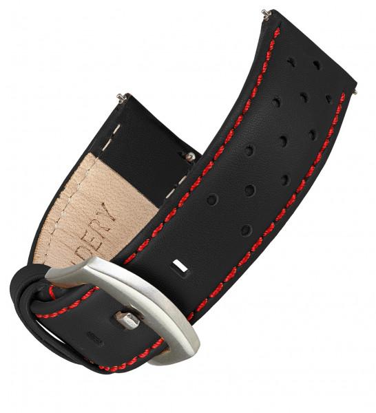 Echt Lederarmband für Samsung Galaxy Watch Classic Frontier mit Quick Release Funktion in schwarz mit roter naht