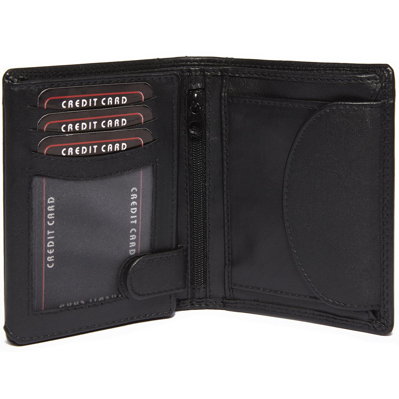8159e52087220 Herren Leder Geldbörse aus hochwertigem Nappa Leder im Hochformat Slim  Portemonnaie in Schwarz ...